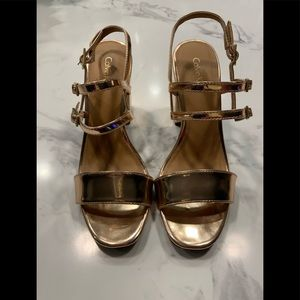 Calvin Klein Caisiey Rose Gold Patent Sandals